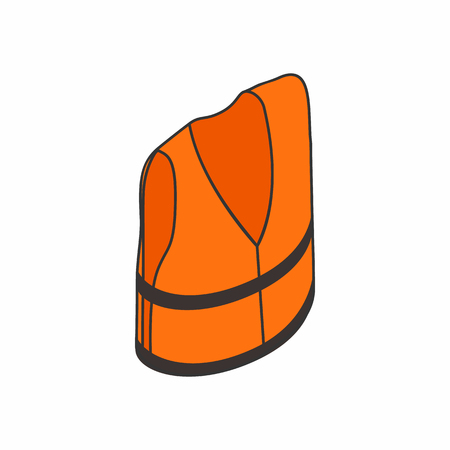 swimming belt: Life jacket icon in isometric 3d style isolated on white background. Clothing and salvation symbol