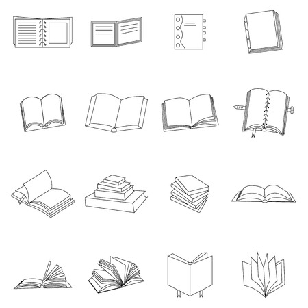 videobook: Book thin icons set isolated on white background