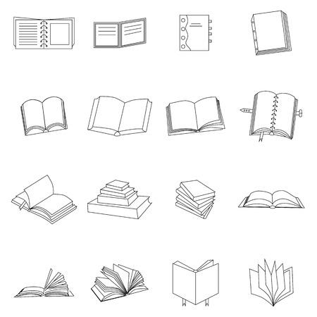 epublishing: Book thin icons set isolated on white background
