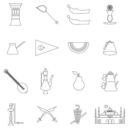 saz: Turkey travel icons set in thin line style isolated on white background Illustration