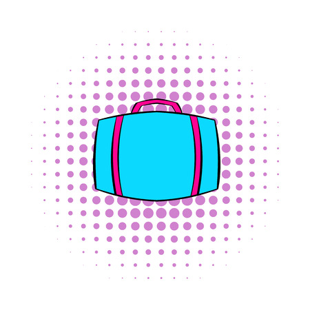 rolling bag: Travel suitcase icon in comics style isolated on white background