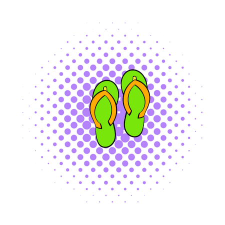 beach slippers: Beach slippers icon in comics style isolated on white background