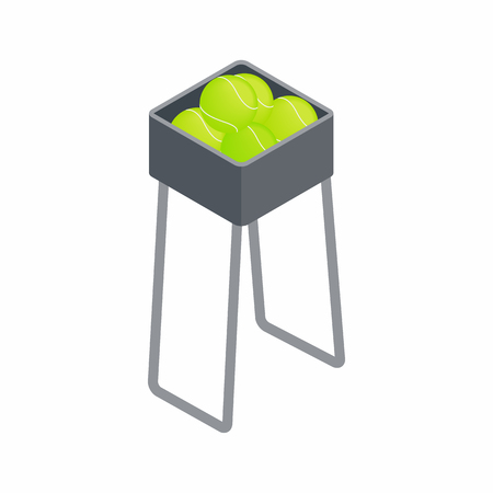 stockpile: Basket for keep tennis balls icon in isometric 3d style on a white background Illustration