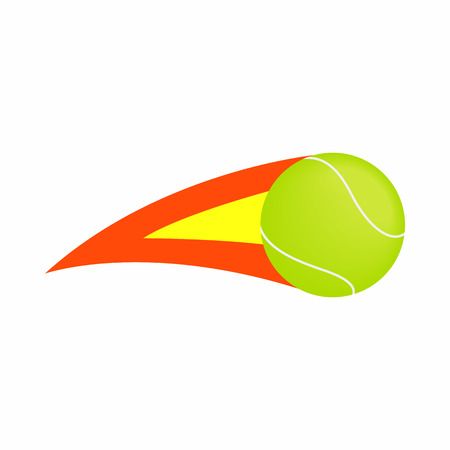 tennisball: Flaming tennis ball icon in isometric 3d style on a white background