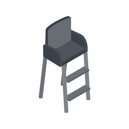 judge players: Tennis referee chair icon in isometric 3d style on a white background