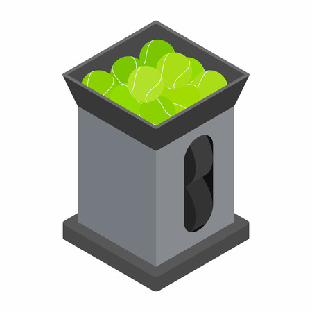 speed gun: Tennis ball machine icon in isometric 3d style on a white background