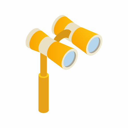 Elegant theater binocular icon in isometric 3d style on a white background