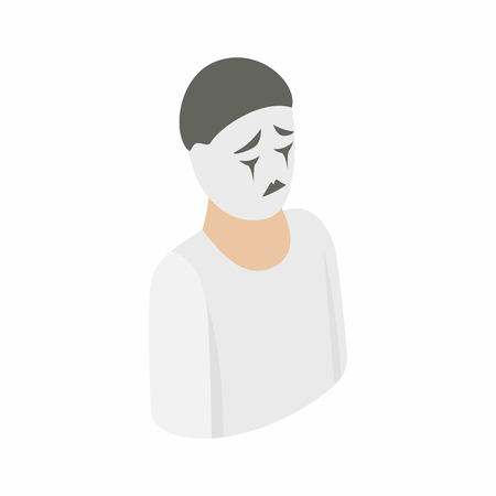 mime: Mime icon in isometric 3d style on a white background