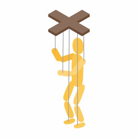icona di marionette in stile isometrico 3D su uno sfondo bianco