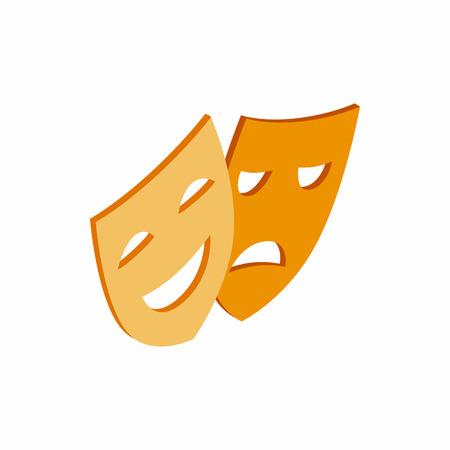 comedy and tragedy masks: Comedy and tragedy theatrical masks icon in isometric 3d style on a white background Illustration