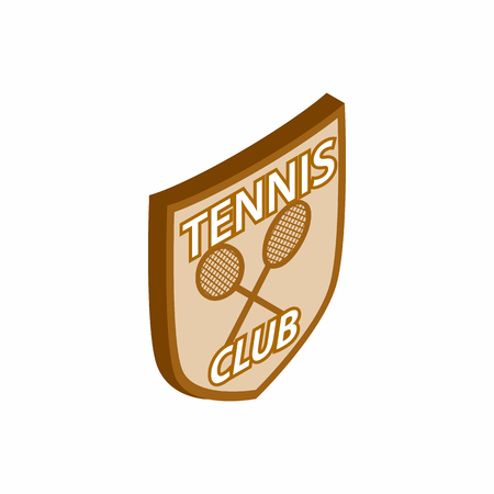 cross match: Tennis club shield icon in isometric 3d style on a white background