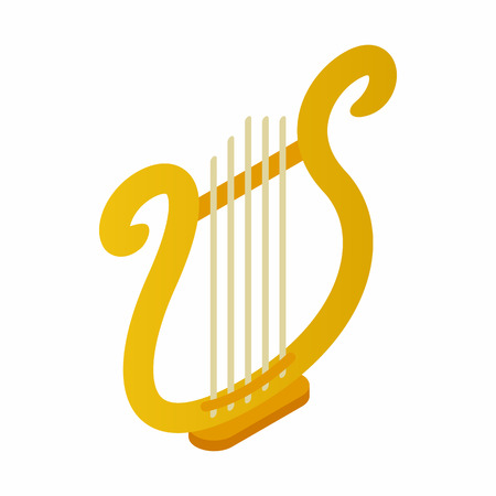lyre: Lyre icon in isometric 3d style on a white background