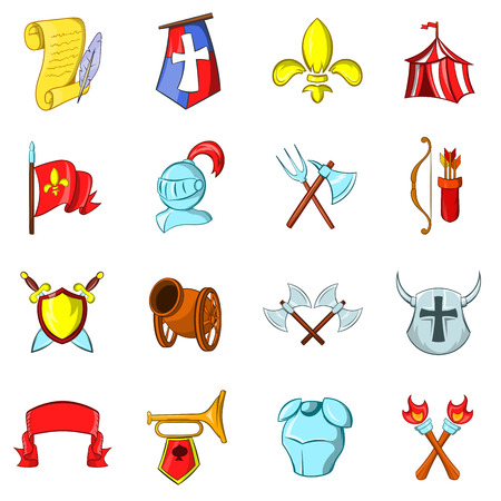 The middle ages icons set isolated on white background Stock Illustratie