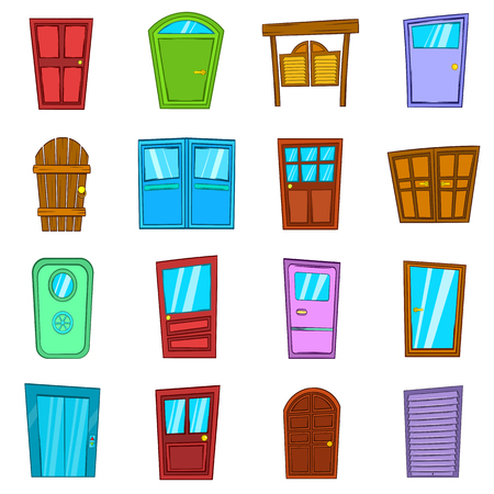 doorknob: Door icons set in hand-drawn style isolated on white background