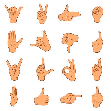 icônes de main définies dans le style dessiné à la main isolé sur fond blanc