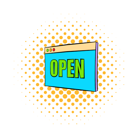 Information plate with open sign icon in comics style isolated on white background Illustration