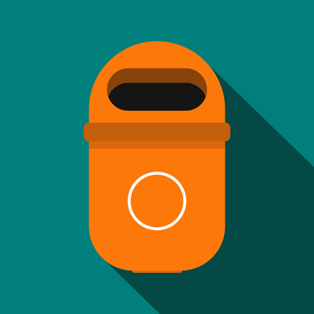 sanitation: Orange trash can icon in flat style with long shadow. Waste and sanitation symbol