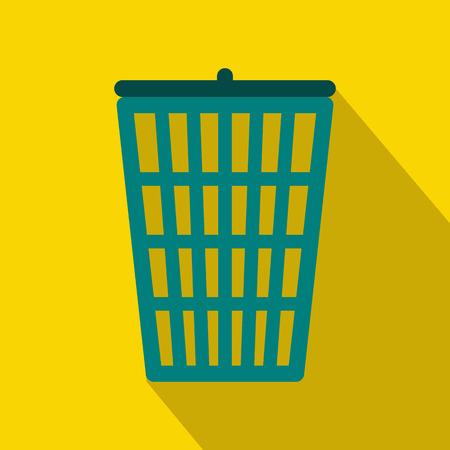 waste basket: Trash basket icon in flat style with long shadow. Waste and sanitation symbol Illustration