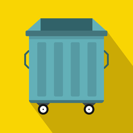 discard: trash bin on wheels icon in flat style with long shadow. Waste and sanitation symbol Illustration