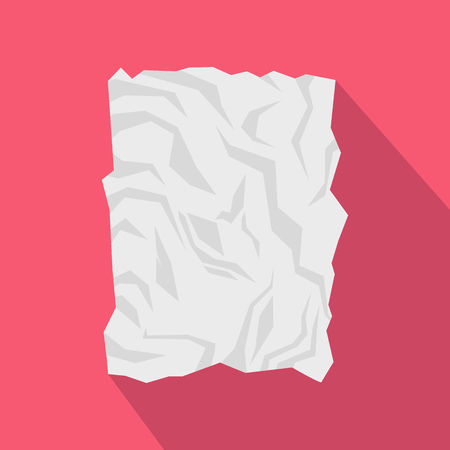 crinkle: Crumpled paper icon in flat style with long shadow