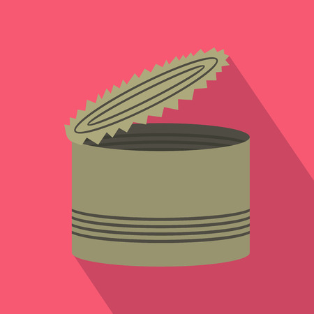 tinned: Open tin can icon in flat style with long shadow. Packaging symbol