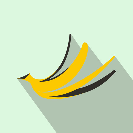 peel: Banana peel icon in flat style with long shadow. Food symbol