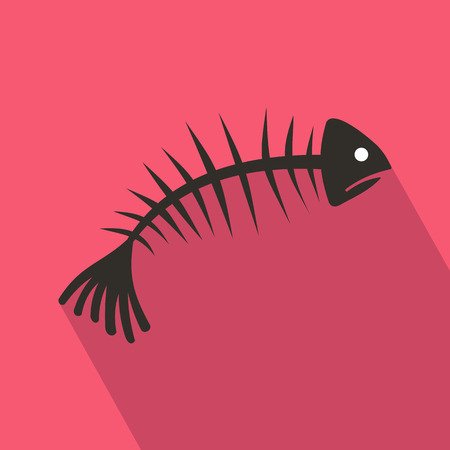 Fish bones icon in flat style with long shadow. Seafood symbol Illustration