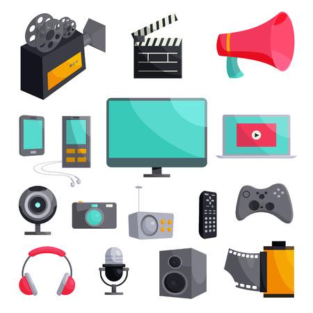 multimedia background: Multimedia icons set in cartoon style isolated on white background Illustration
