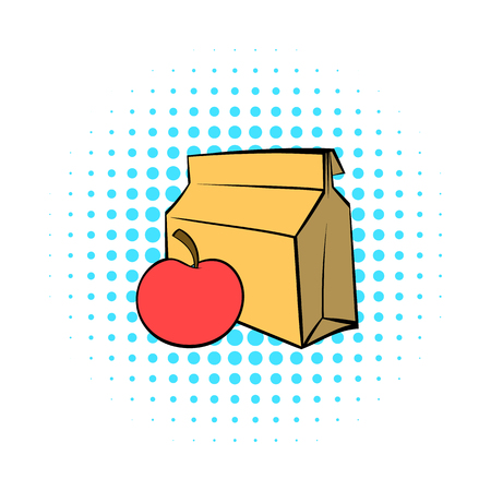 open sandwich: Apple and a paper bag with lunch icon in comics style on a white background