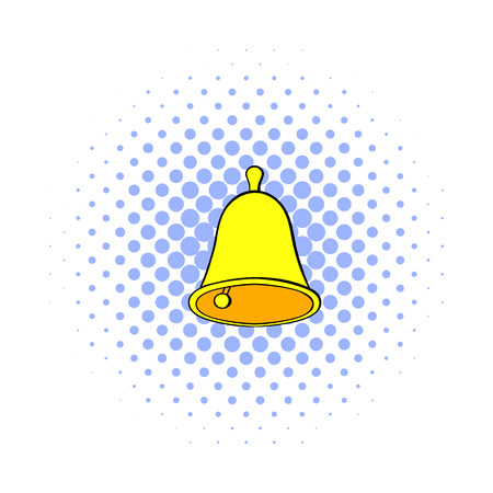 Golden hand bell icon in comics style on a white background Illustration