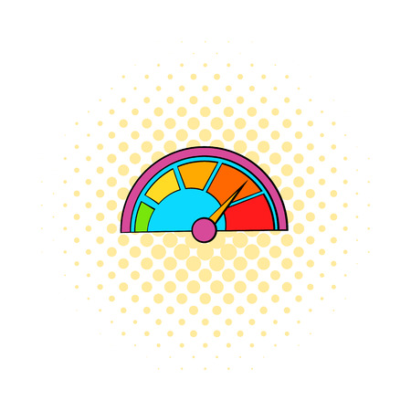 tachometer: Colorful tachometer icon in comics style on a white background