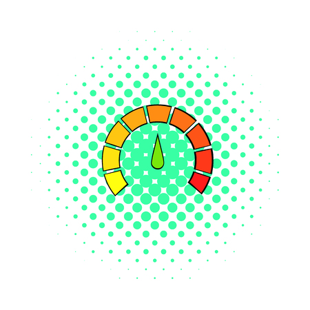 tachometer: Tachometer icon in comics style on a white background