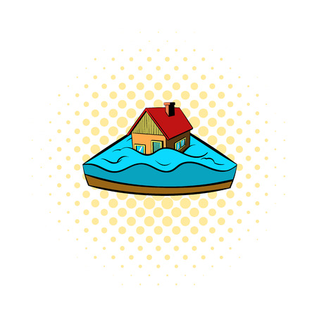 foreclosure: House sinking in a water icon in comics style on a white background