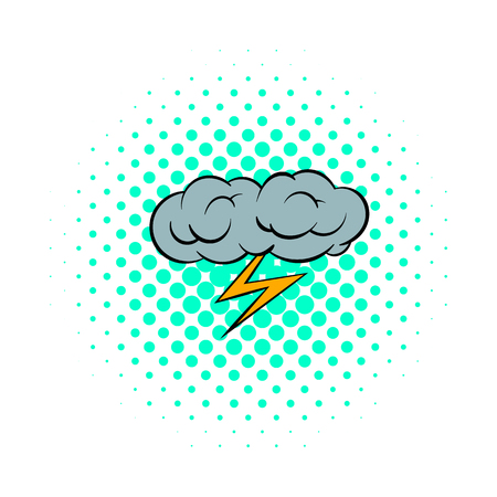 apocalyptic: Grey cloud and lightning icon in comics style on a white background