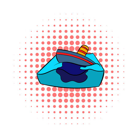 poison sea transport: Sinking tanker and oil spill icon in comics style on a white background Illustration