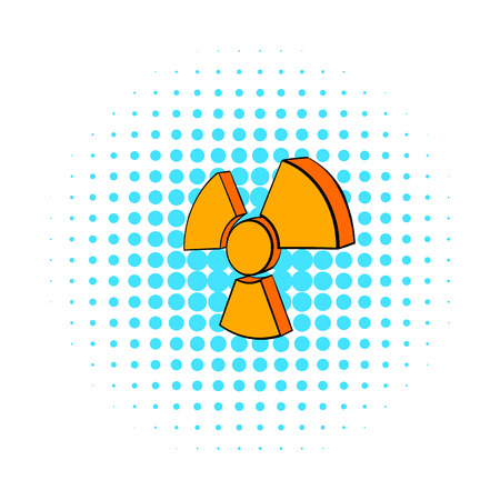 nuke plant: Radioactive sign icon in comics style on a white background