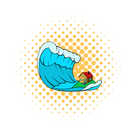 Big wave of tsunami over the house icon in comics style on a white background Illustration