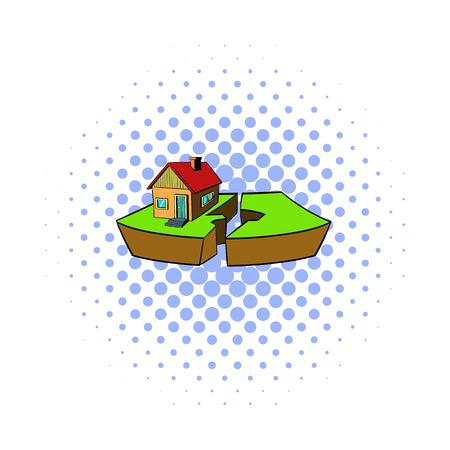 seismic: Earthquake and damaged home icon in comics style on a white background Illustration
