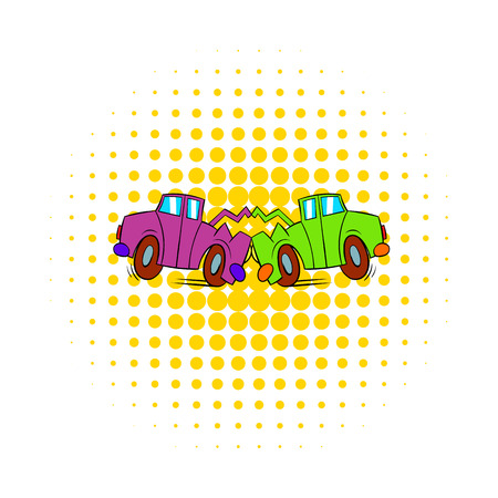 comics car: Car crash icon in comics style on a white background