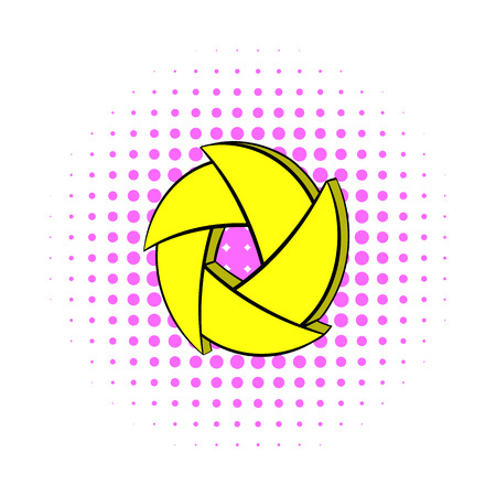 and aperture: Yellow camera aperture icon in comics style on a white background
