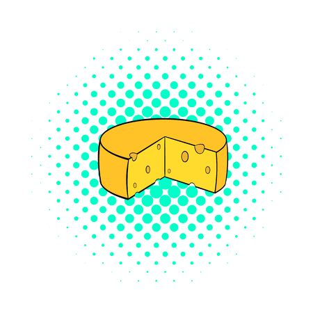 hard crust: Dutch cheese icon in comics style on a white background