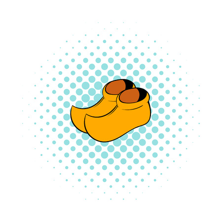 wooden shoes: Wooden shoes icon in comics style on a white background Illustration