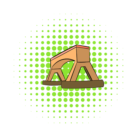 Wooden bridge icon in comics style on a white background