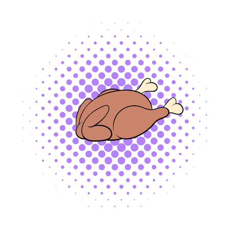 whole chicken: Whole roast chicken icon in comics style on a white background Illustration
