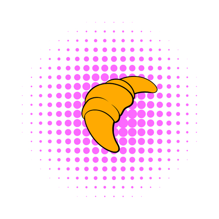 buttery: Croissant icon in comics style on a white background