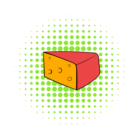 cheez: Triangular piece of cheese icon in comics style on a white background Illustration