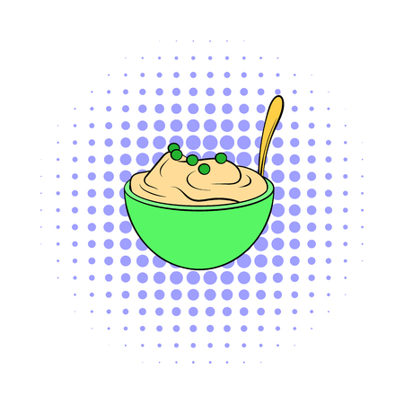 puree: Mashed potatoes in a bowl icon in comics style on a white background Illustration
