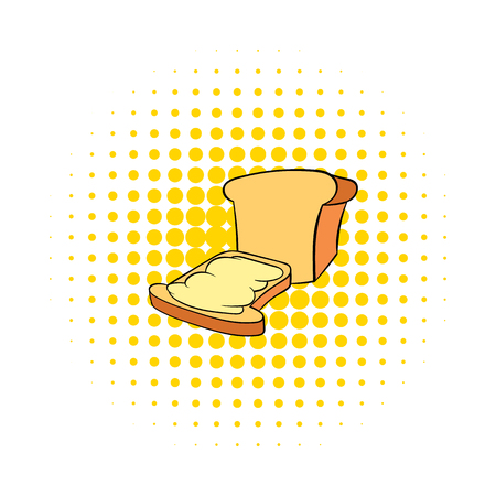crusty: Bread and butter icon in comics style on a white background Illustration