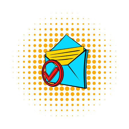 delivered: Delivered e-mail icon in pop-art style on dotted background. Internet and message symbol Illustration