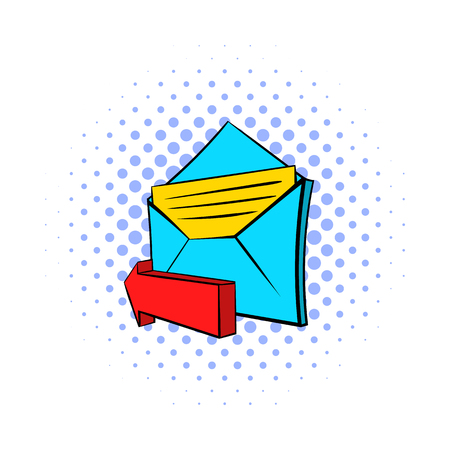 outgoing: Outgoing e-mail icon in pop-art style on dotted background. Internet and message symbol